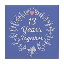 13th Wedding Anniversary Tile Coaster