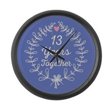 13th Wedding Anniversary Large Wall Clock