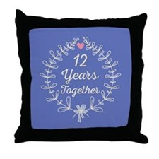 12th Wedding Anniversary Throw Pillow
