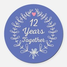 12th Wedding Anniversary Round Car Magnet