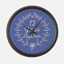 12th Wedding Anniversary Large Wall Clock
