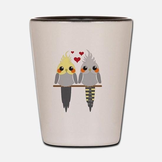 Cockatiels in Love Shot Glass