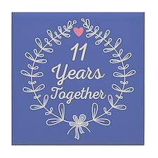 11th Wedding Anniversary Tile Coaster