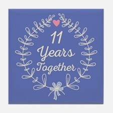 11th Wedding Anniversary Tile Coaster