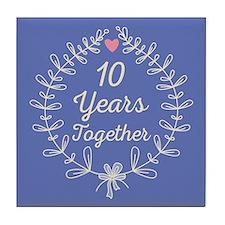 10th Wedding Anniversary Tile Coaster