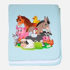 Cartoon Farm Animals baby blanket