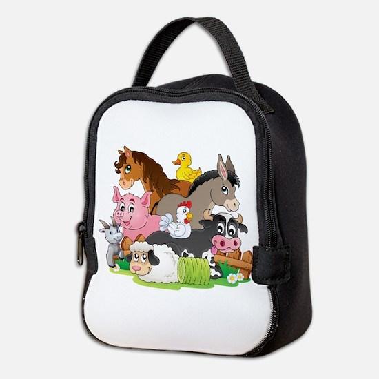 Cartoon Farm Animals Neoprene Lunch Bag