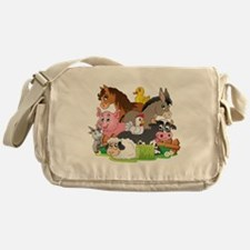 Cartoon Farm Animals Messenger Bag