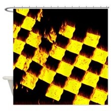 checkered flag on fire Shower Curtain