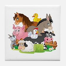 Cartoon Farm Animals Tile Coaster