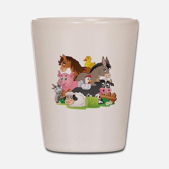 Cartoon Farm Animals Shot Glass