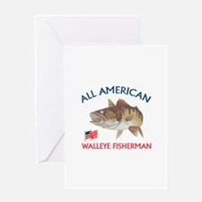 AMERICAN WALLEYE FISHERMAN Greeting Cards