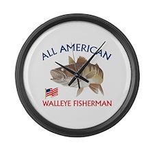 AMERICAN WALLEYE FISHERMAN Large Wall Clock