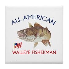 AMERICAN WALLEYE FISHERMAN Tile Coaster