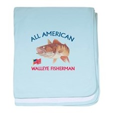 AMERICAN WALLEYE FISHERMAN baby blanket