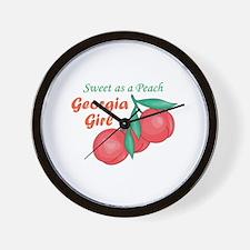 Sweet As A Peach Georgia Gire Wall Clock