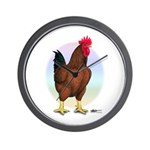Red Broiler Rooster Wall Clock