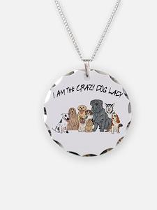 I Am the Crazy Dog Lady Necklace Circle Charm