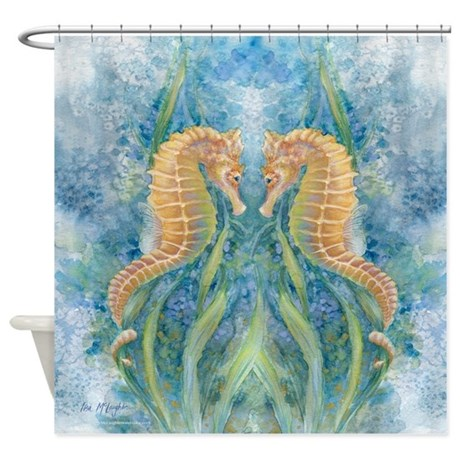 Sweet seahorses shower curtain by mclaughlinwatercolor