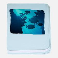 Underwater Blue World Fish Scuba Di baby blanket