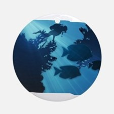 Underwater Blue World Fish Scuba Ornament (Round)