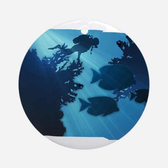 Underwater Blue World Fish Scuba Ornament (Round)