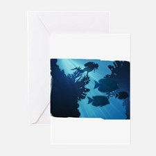 Underwater Blue World Fish Scuba Greeting Cards