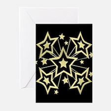 Gold Stars on Black Greeting Cards