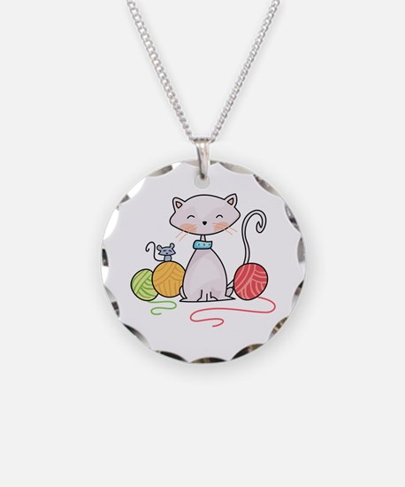 YARN WITH CAT AND MOUSE Necklace