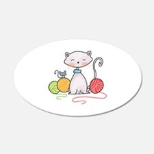 YARN WITH CAT AND MOUSE Wall Decal