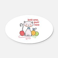 KNIT ONE PURR TWO Oval Car Magnet