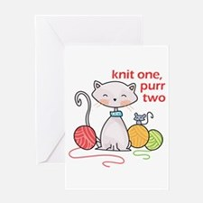 KNIT ONE PURR TWO Greeting Cards
