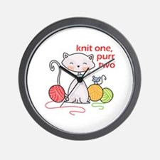 KNIT ONE PURR TWO Wall Clock