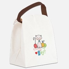 LOVE TO KNIT Canvas Lunch Bag