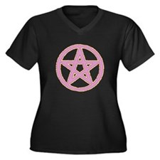 Pink & Yellow Puffy Pentagram Plus Size T-Shirt