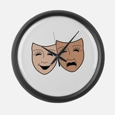 DRAMA MASKS Large Wall Clock