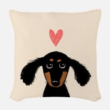Dachshund Love Woven Throw Pillow