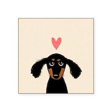 "Dachshund Love Square Sticker 3"" X 3"""