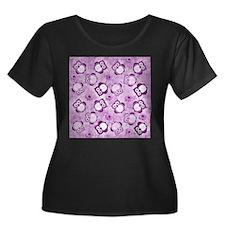 Owls Wallpaper,purple Plus Size T-Shirt