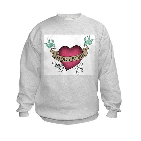 Daddy's Girl Heart Bird Tattoo Kids Sweatshirt
