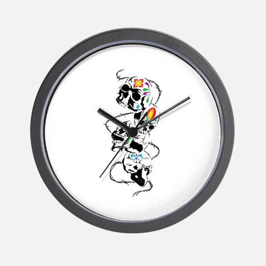 DECORATED SKULLS Wall Clock