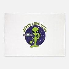 PEACE LOVE UFOS 5'x7'Area Rug
