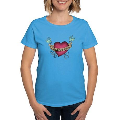 Daddy's Girl Heart Bird Tattoo Women's Dark T-Shir