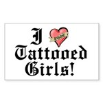 I love Tattooed Girls Rectangle Sticker