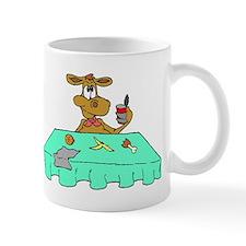 Cow Eating At Table Mugs