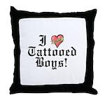 I love Tattooed Boys Throw Pillow