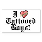 I love Tattooed Boys Rectangle Sticker