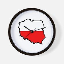 POLAND MAP FLAG Wall Clock