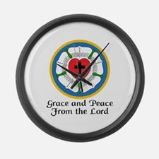 GRACE AND PEACE Large Wall Clock