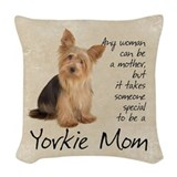 Yorkie mom Woven Pillows